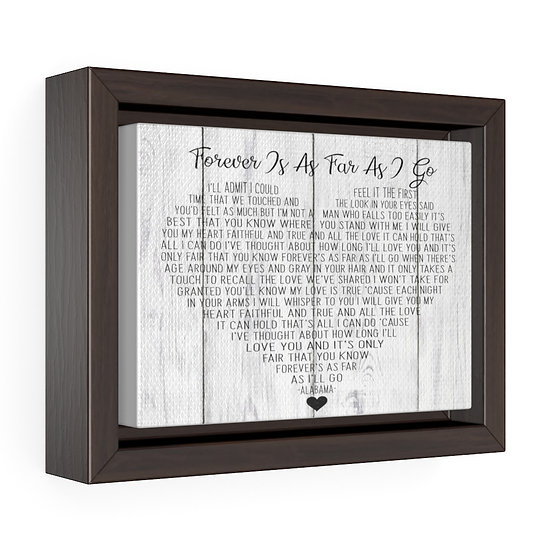 Canvas Print, Forever is as Far as I Go Song lyric Personalized Wedding Gift