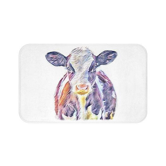 Bath Mat, Cow Bath Mat, Non Slip Bathroom Rug, Cute Calf Farmhouse Bath Mat