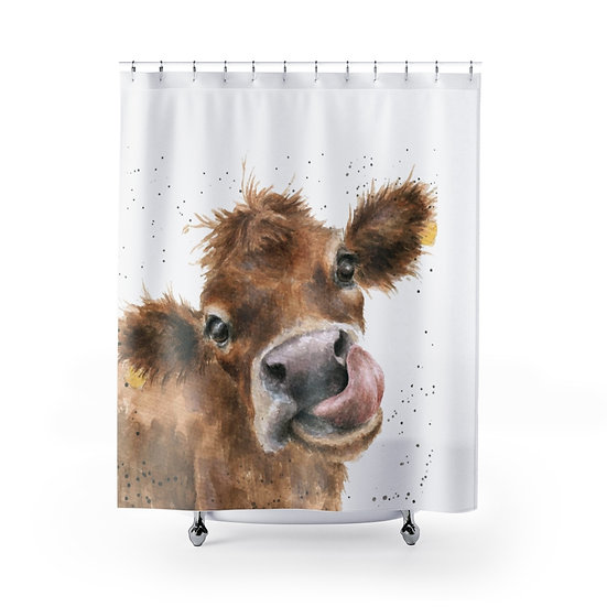 Watercolor Cow Shower Curtains, Calf Fabric Liner, Funny Bathroom Decor