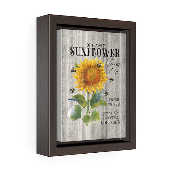 Canvas Print, Country Sunflower Wall Hanging, Kitchen Wall Art, Vertical Framed
