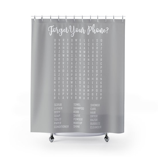 Forget Your Phone Bathroom Edition Shower Curtains, Gray Word Search Liner