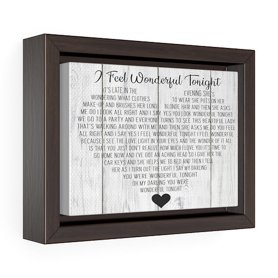 Canvas Print, Wonderful Tonight Song Lyric Personalized Wedding Gift