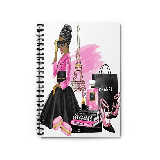Spiral Notebook, Paris Fashion Spiral Notebook, Fashion American Girl Notebook