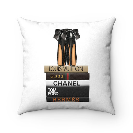 Pillow Cover, Fashion Books and Heels, Faux Suede Square Pillow Case, Fashion