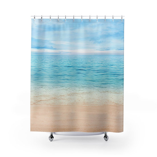 Shower Curtain, Sandy Beach Designer Curtain, Beach Shower Decor, Bathroom Decor