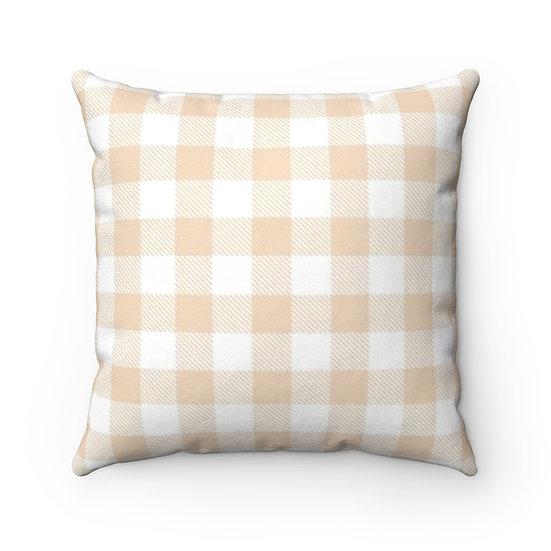 Tan and White Checkered Plaid Throw Pillow