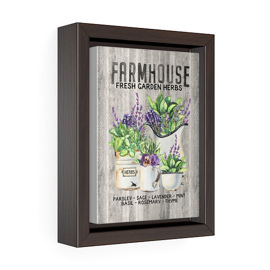 Canvas Print, Kitchen Herbs Wall Hanging, Vertical Framed Premium Gallery Wrap