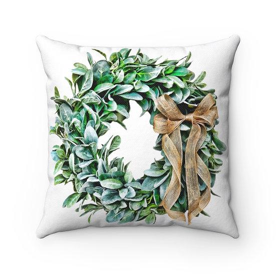 Laurel Wreath Pillow, Farmhouse  Throw Pillow, Laurel Wreath Decor