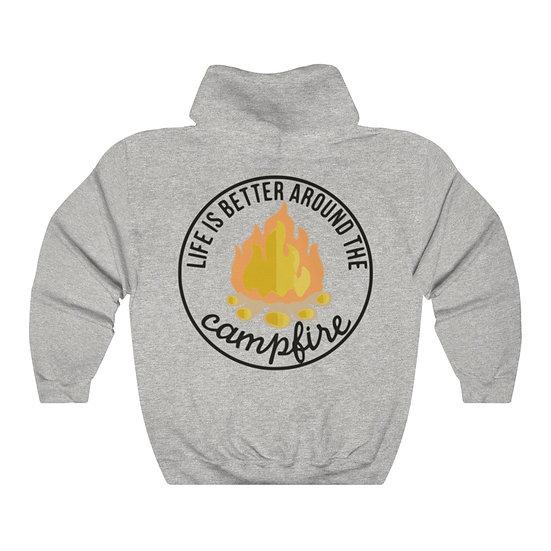 Life is better Around Campfires Unisex Heavy Blend™ Hooded Sweatshirt
