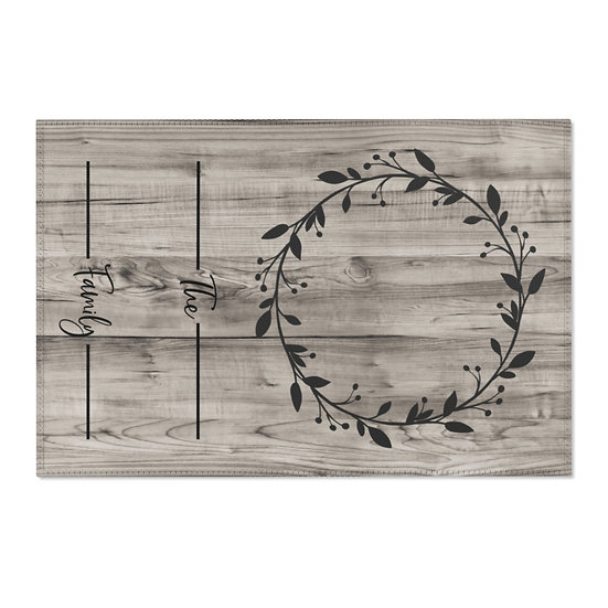 Area Rug, Family Name Wreath Rug, Barnwood Print Farmhouse Rug, Country Western