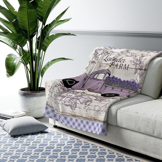 Blanket, Sherpa Fleece Blanket, Lavender Truck Country Blanket