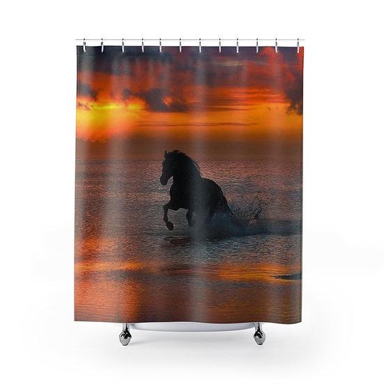 Shower Curtain, Horse, Sunset Beach Fabric Liner