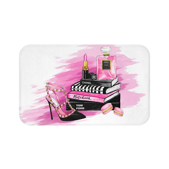 Bath Mat, Pink, Shoes, Books, perfume, Makeup, Fashion Illustration