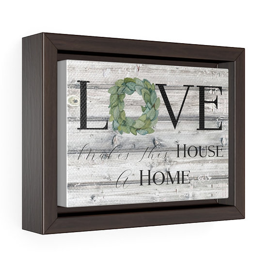 Canvas Print, Farmhouse Love Makes a Home Wreath, Farmhouse Framed Wall Art