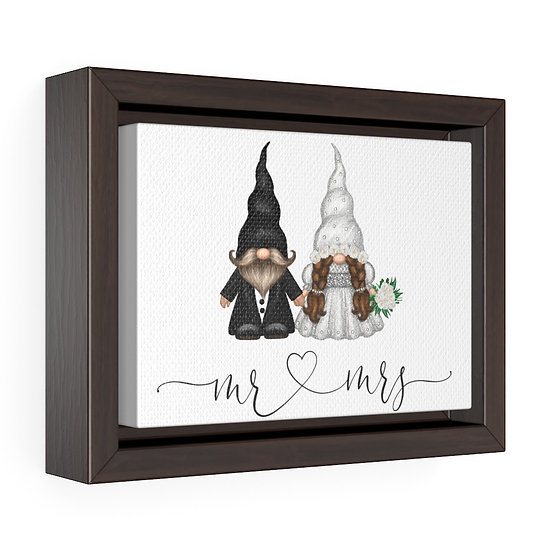 Mrs & Mrs Wedding Gnome, Framed Premium Gallery Wrap Canvas, Wedding Gifts