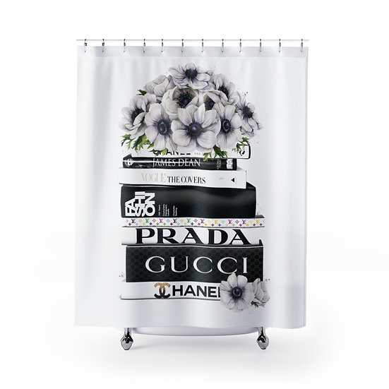 Shower Curtain, Black and White Fashion illustration, Books, Flowers, Fashion