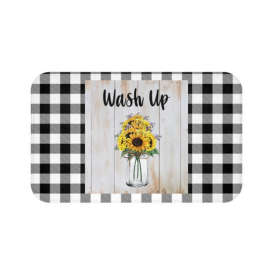 Bath Mat, Wash Up Sunflower Bath Room Accessories, Rugs and Mats, Bathroom Decor