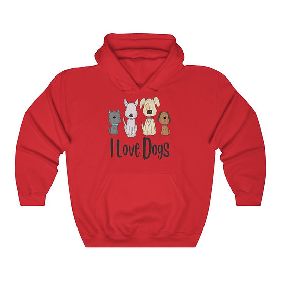 I Love Dogs Unisex Heavy Blend Hooded Sweatshirt