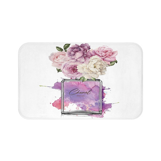 Bath Mat, Pink, Peony, Perfume, Blush, Fashion Illustration bathroom decor