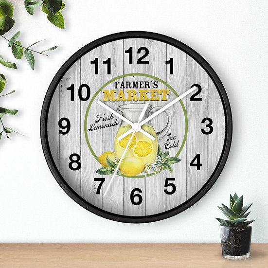 Lemon Clock, Farmers Market Lemonade, Kitchen Wall Clock, 10 in Country Clock