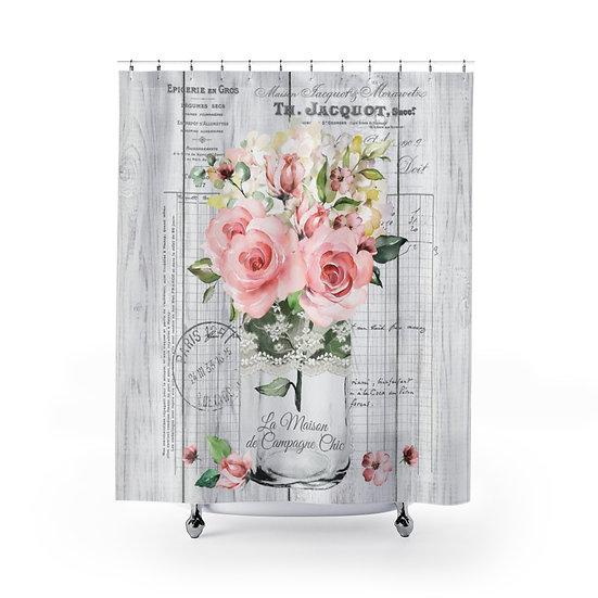 Shower Curtain, Pink Rose Mason Jar, Modern Farmhouse Designer Curtain
