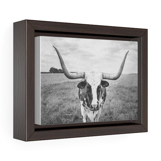 Texas Longhorn Canvas, Above the Mantle Wall Hanging, Rustic Ranch Home Decor