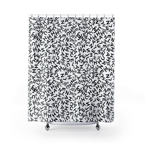 Designer Inspired Fashion Shower Curtain, Black & White Fashionista Illustration