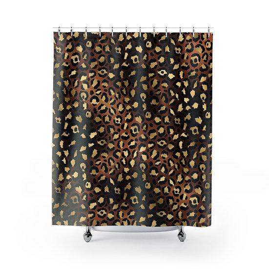 Brown Leopard Print Shower Curtain, Glam Fashion Bathroom Decor