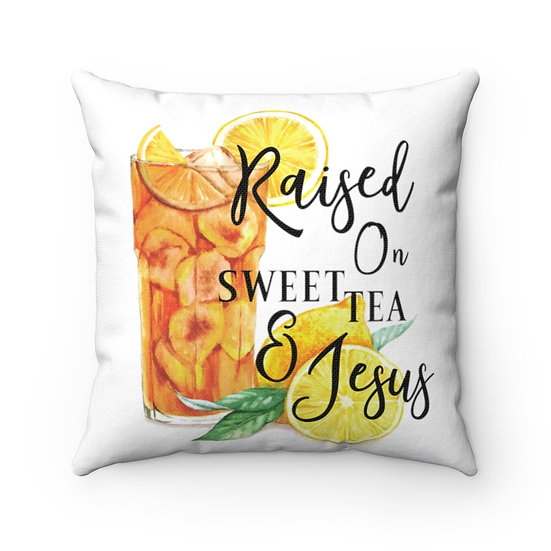 Pillow, Sweet Tea and Jesus Throw Pillow, Tea Lover Gift, Southern Quote Pillow