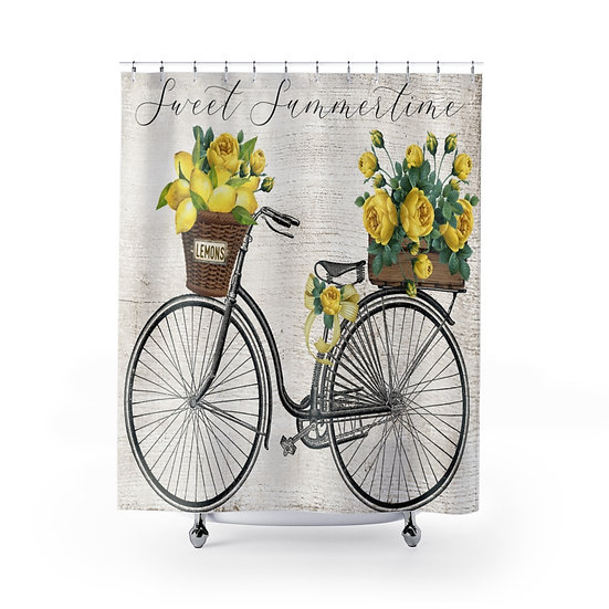 Sweet Summertime Farmhouse Shower Curtains, Bicycle Fabric Liner