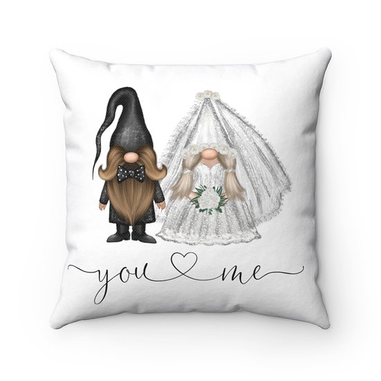 You & Me Wedding Gnome Pillow, Wedding Gift, Marriage Pillow, Ring Pillow