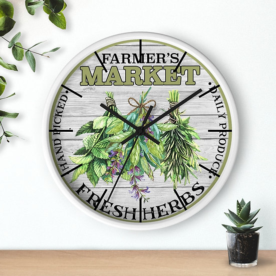 Clock, 10 in Fresh Herbs Clock, Rustic Farmhouse Country Kitchen Clock