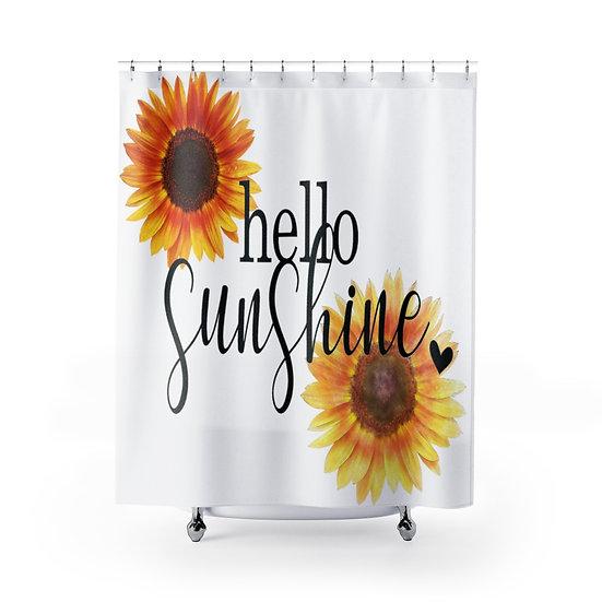 Hello Sunshine Shower Curtain, Sunflower Shower Liner, Rustic Farmhouse Bathroom