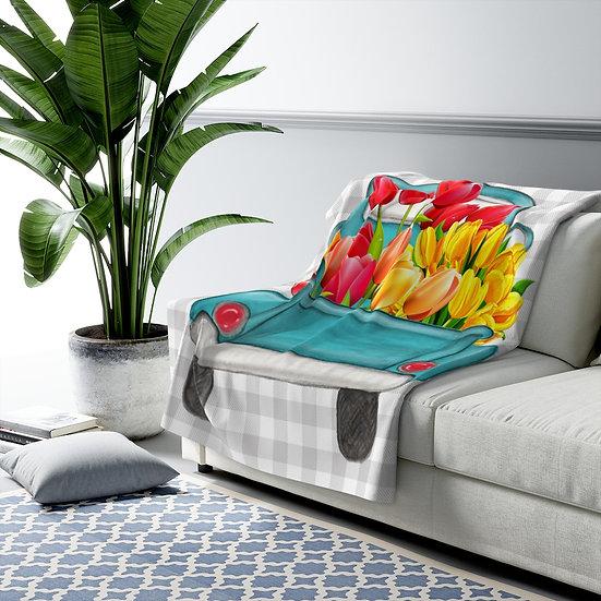 Blanket, Farmhouse Sherpa Fleece Blanket, Tulip Truck Country Blanket, Modern