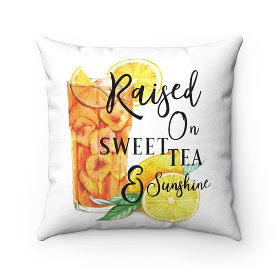 Pillow, Sweet Tea and Sunshine Throw Pillow, Country Home Decor, Southern Quote