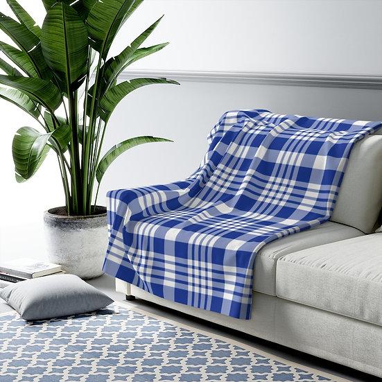 Blanket, Blue Gingham Plaid Sherpa Fleece Blanket, Blanket Gift
