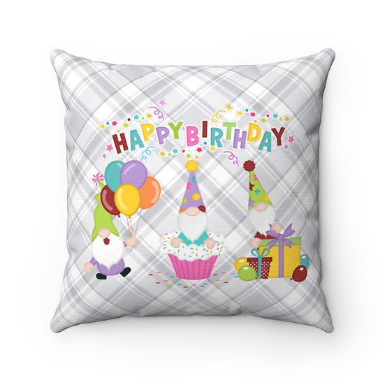 Happy Birthday Pillow, Grey Birthday Pillow, Gift for her, Gift for Him
