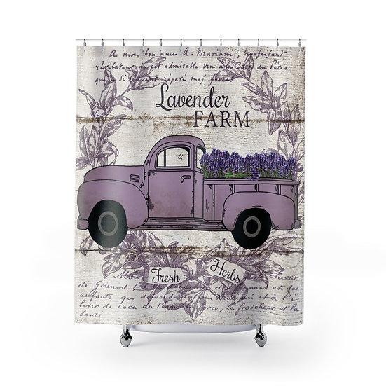 Shower Curtain, Purple Farmhouse Lavender Truck, Shabby Chic Fabric Liner
