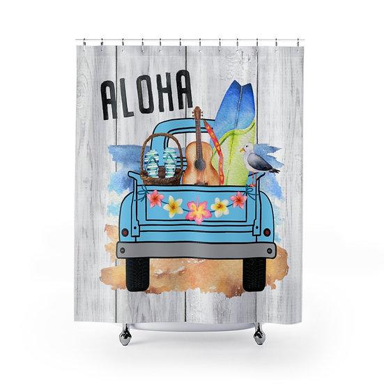 Shower Curtain, Aloha Shower Curtain, Blue Truck Surf Boards Fabric Liner