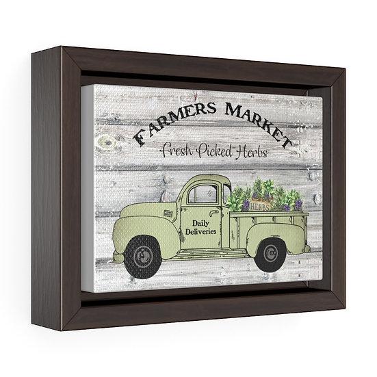 Canvas Print, Fresh Pick Herbs Farmhouse Truck, Kitchen Horizontal Wrap Wall Art