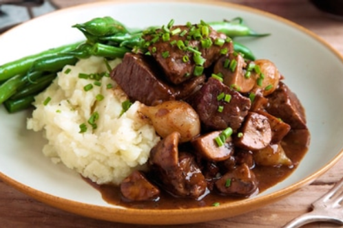 Beef Bourguignon with Mash Potato & Vegetables