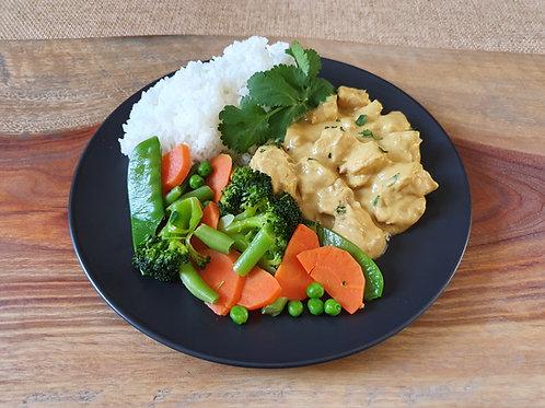 Satay Chicken, Spring Vegetables & Jasmine Rice- Serves 2