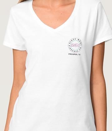 White BMOS Logo Prosper V-Neck Shirt
