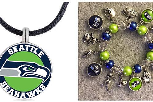 Seattle Seahawks Bracelet and Necklace set