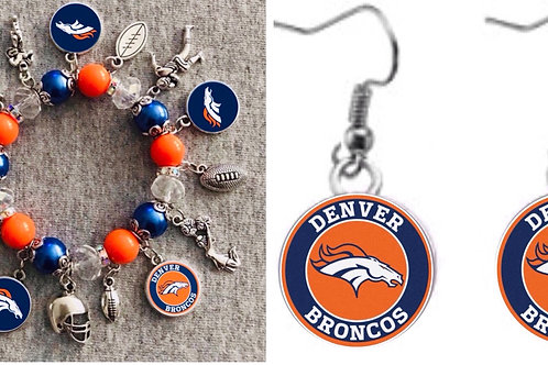 Denver Broncos Bracelet and Necklace set