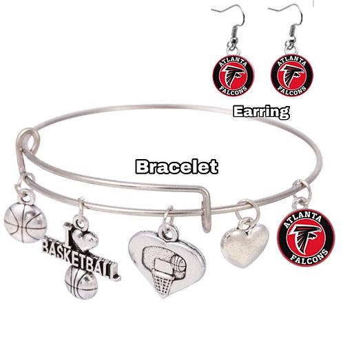 Atlanta Falcons Bangle bracelet and earrings set