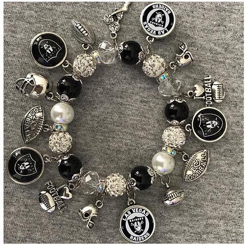 Las Vegas Raiders beaded charm bracelet