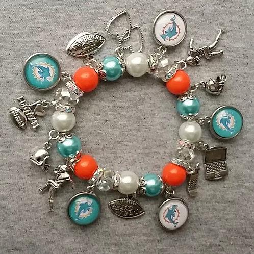 Miami Dolphins beaded charm bracelet