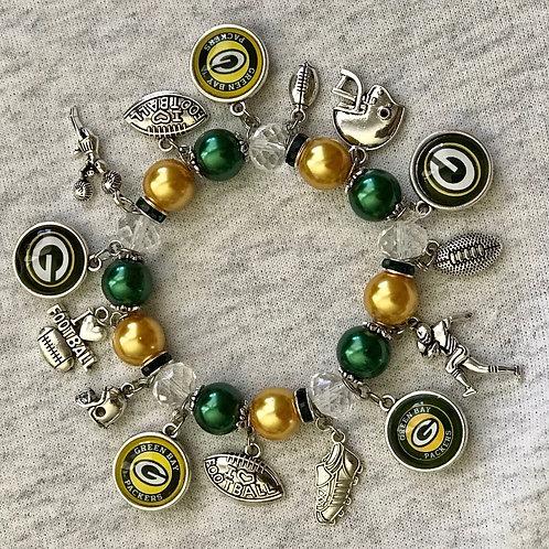 Green Bay Packers beaded charm bracelet