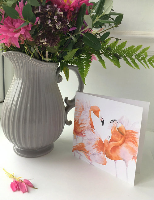Flamingo Flurry Card